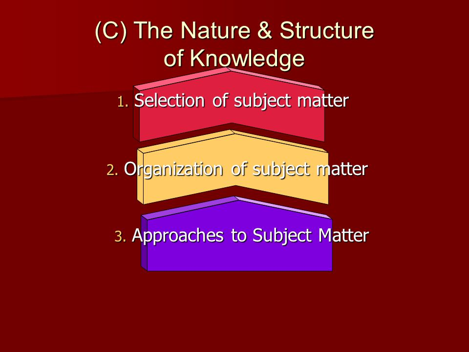 (C) The Nature & Structure of Knowledge 1. Selection of subject matter 2. Organization of subject matter 3. Approaches to Subject Matter