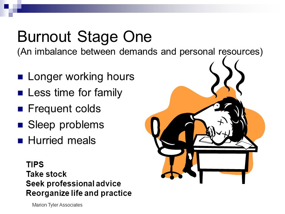 Marion Tyler Associates Burnout Stage One (An imbalance between demands and personal resources) Longer working hours Less time for family Frequent colds Sleep problems Hurried meals TIPS Take stock Seek professional advice Reorganize life and practice
