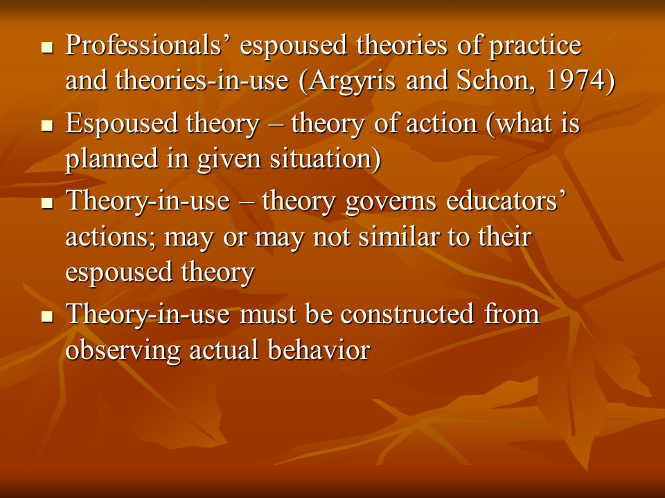 Professionals' espoused theories of practice and theories-in-use (Argyris and Schon, 1974) Professionals' espoused theories of practice and theories-in-use (Argyris and Schon, 1974) Espoused theory – theory of action (what is planned in given situation) Espoused theory – theory of action (what is planned in given situation) Theory-in-use – theory governs educators' actions; may or may not similar to their espoused theory Theory-in-use – theory governs educators' actions; may or may not similar to their espoused theory Theory-in-use must be constructed from observing actual behavior Theory-in-use must be constructed from observing actual behavior