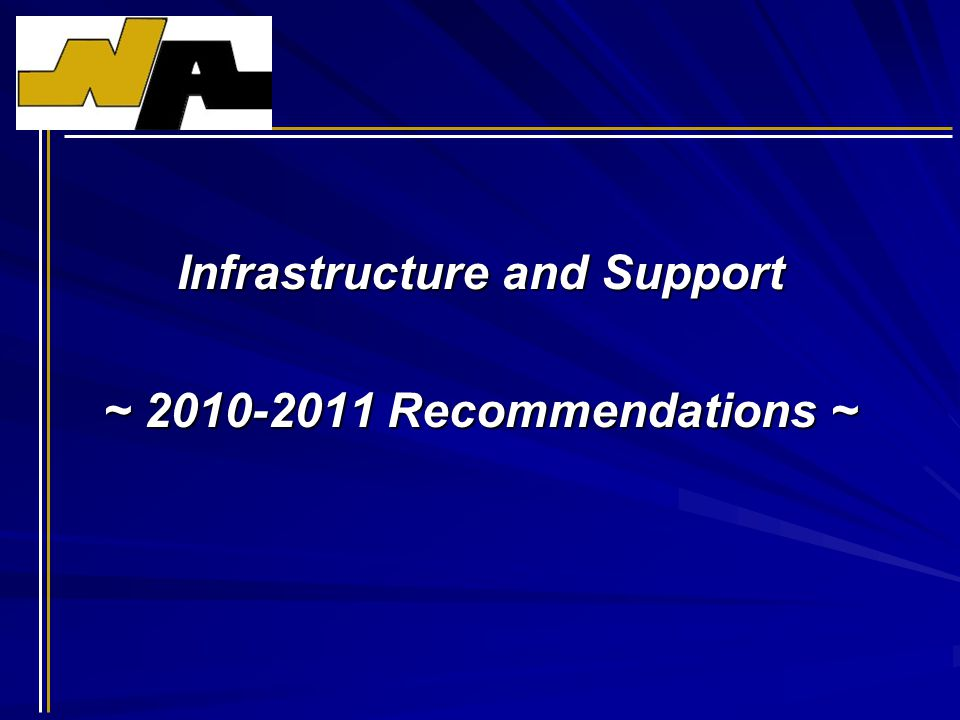 Infrastructure and Support ~ 2010-2011 Recommendations ~