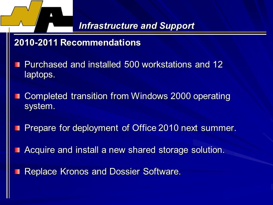 Infrastructure and Support 2010-2011 Recommendations Purchased and installed 500 workstations and 12 laptops.
