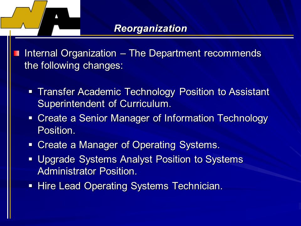 Reorganization Internal Organization – The Department recommends the following changes:  Transfer Academic Technology Position to Assistant Superintendent of Curriculum.