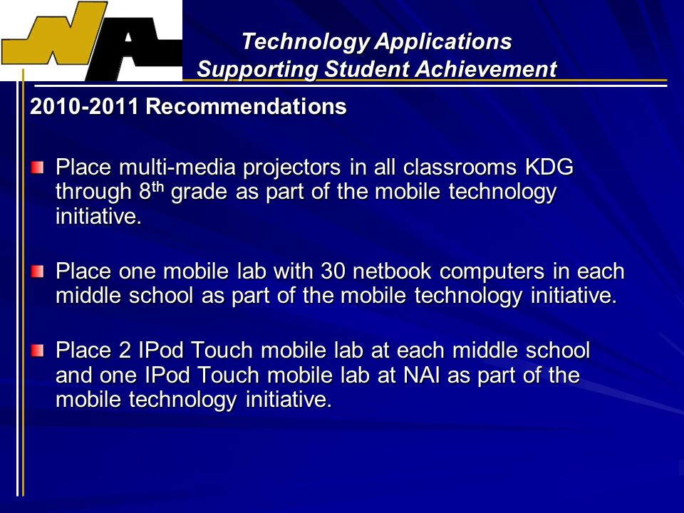 Technology Applications Supporting Student Achievement 2010-2011 Recommendations Place multi-media projectors in all classrooms KDG through 8 th grade as part of the mobile technology initiative.