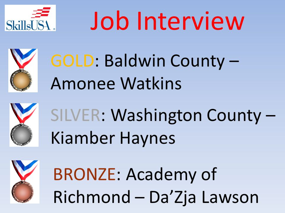 Job Interview BRONZE: Academy of Richmond – Da'Zja Lawson SILVER: Washington County – Kiamber Haynes GOLD: Baldwin County – Amonee Watkins