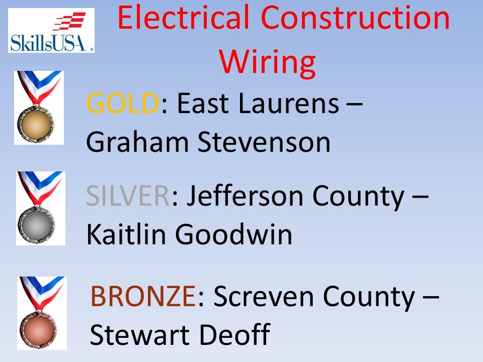 Electrical Construction Wiring BRONZE: Screven County – Stewart Deoff SILVER: Jefferson County – Kaitlin Goodwin GOLD: East Laurens – Graham Stevenson
