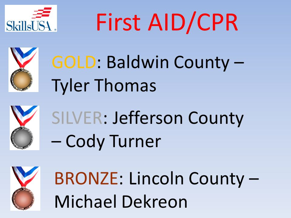 First AID/CPR SILVER: Jefferson County – Cody Turner GOLD: Baldwin County – Tyler Thomas BRONZE: Lincoln County – Michael Dekreon