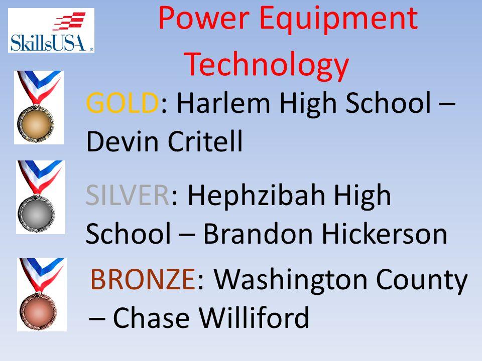 Power Equipment Technology BRONZE: Washington County – Chase Williford SILVER: Hephzibah High School – Brandon Hickerson GOLD: Harlem High School – Devin Critell
