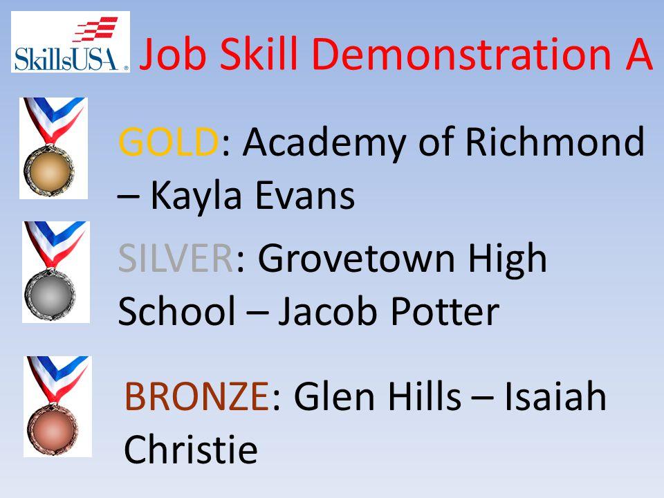 Job Skill Demonstration A BRONZE: Glen Hills – Isaiah Christie SILVER: Grovetown High School – Jacob Potter GOLD: Academy of Richmond – Kayla Evans