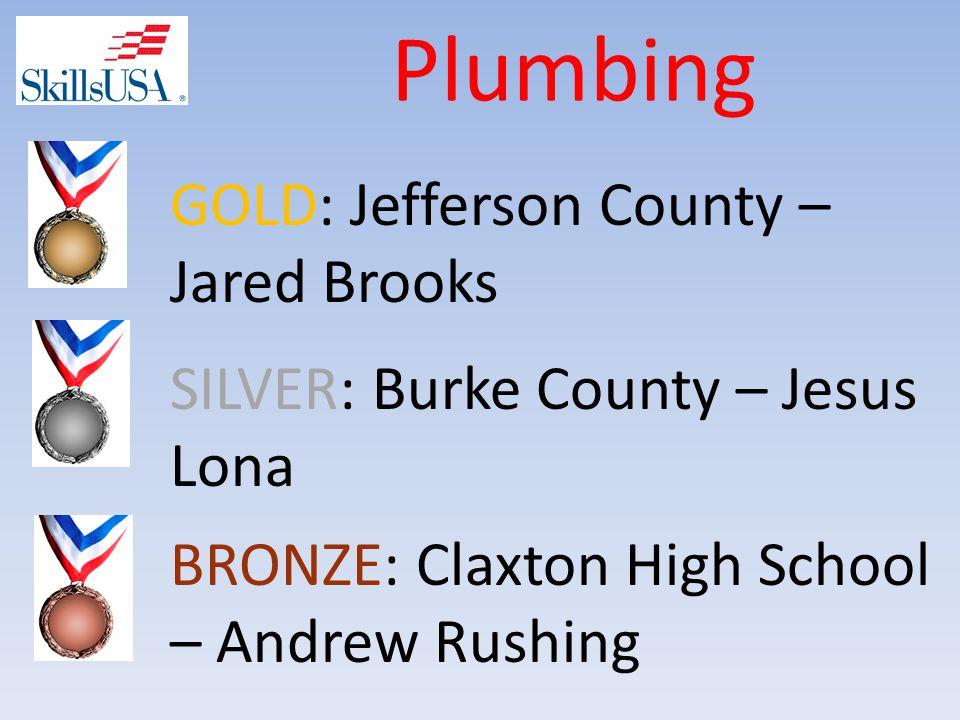 Plumbing BRONZE: Claxton High School – Andrew Rushing SILVER: Burke County – Jesus Lona GOLD: Jefferson County – Jared Brooks