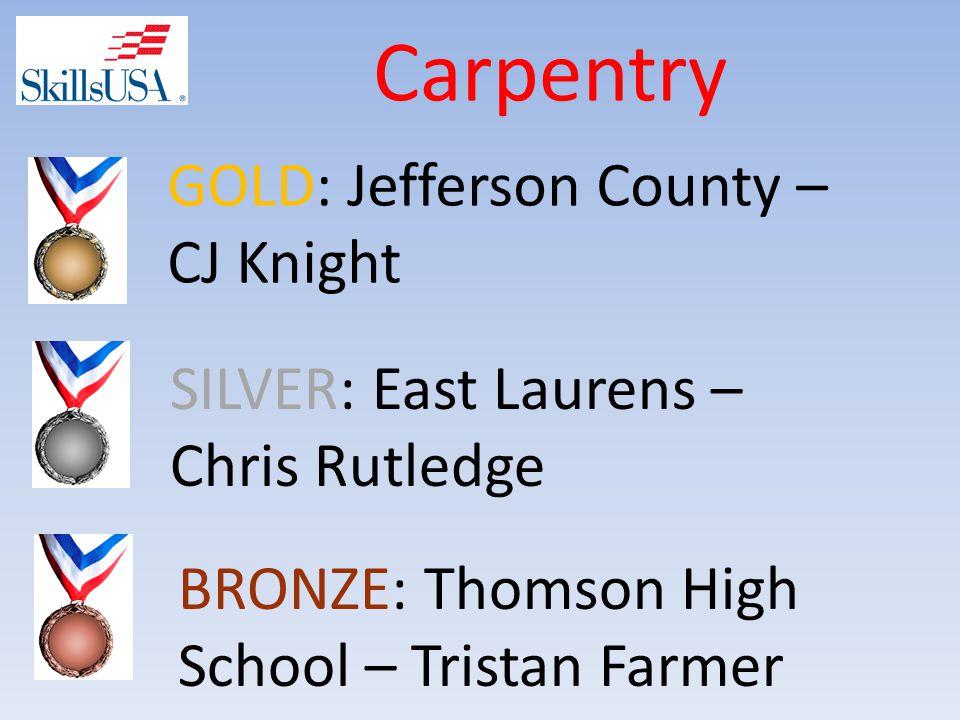 Carpentry BRONZE: Thomson High School – Tristan Farmer SILVER: East Laurens – Chris Rutledge GOLD: Jefferson County – CJ Knight