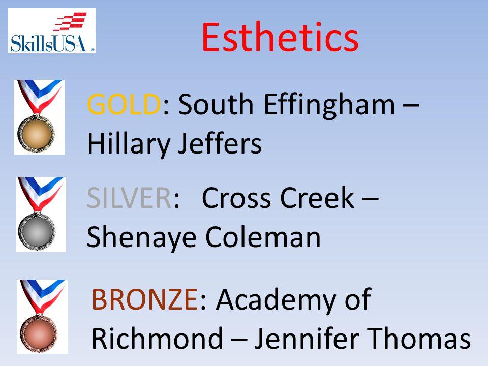 Esthetics SILVER: Cross Creek – Shenaye Coleman GOLD: South Effingham – Hillary Jeffers BRONZE: Academy of Richmond – Jennifer Thomas