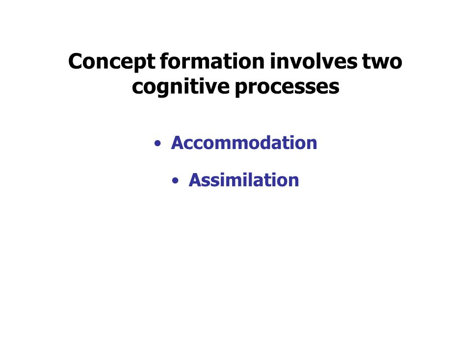 Concept formation involves two cognitive processes Accommodation Assimilation