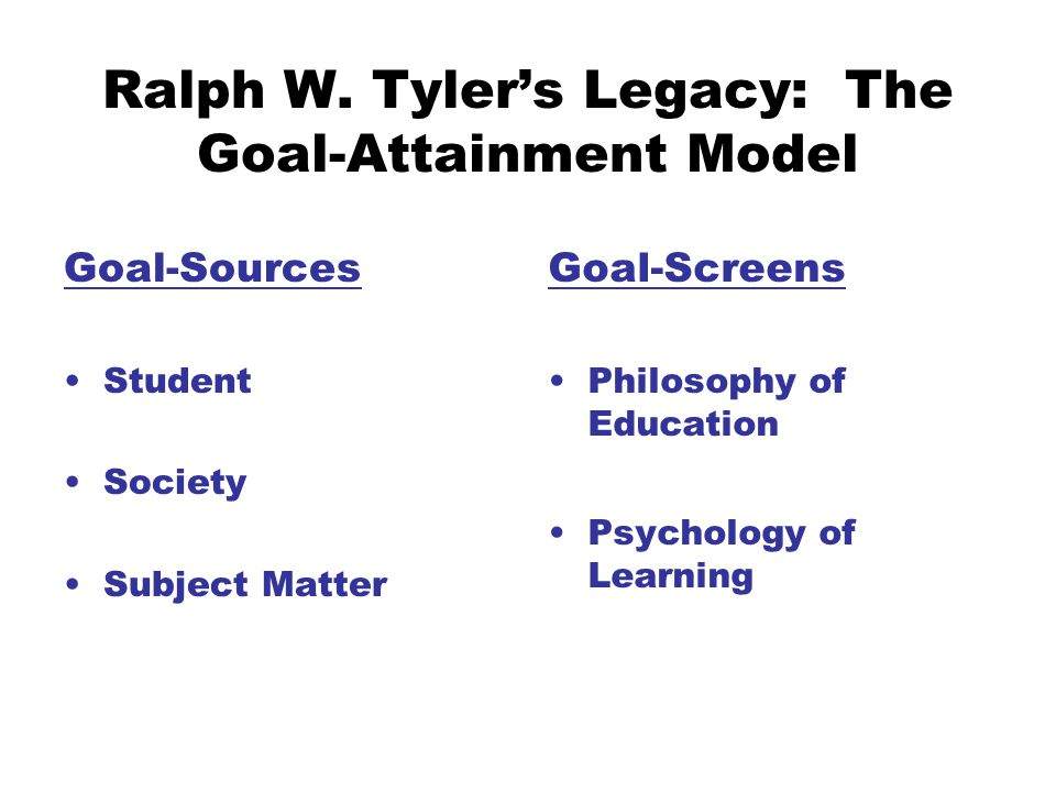 Ralph W. Tyler's Legacy: The Goal-Attainment Model Goal-Sources Student Society Subject Matter Goal-Screens Philosophy of Education Psychology of Lear