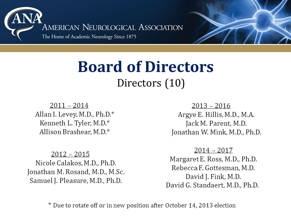 Explore the ANA 92% of members would recommend an ANA membership to their colleagues The ANA is an association that protects and nourishes academic neurology, works hard to facilitate mentoring and collegial interactions amongst esteemed experts, and rallies for securing funding for neurology research. ANA sets a standard of excellence in clinical and experimental neurology. It is the best forum for academic neurologists to guide the direction of our field. *Responses from the 2013 ANA Membership Survey