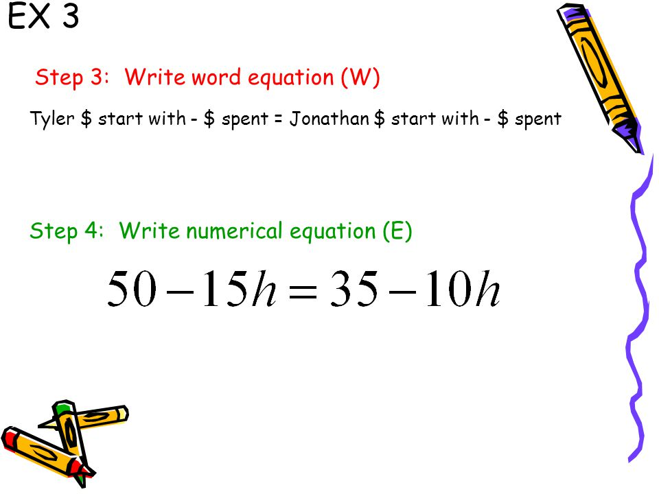 EX 3 Step 3: Write word equation (W) Step 4: Write numerical equation (E) Tyler $ start with - $ spent = Jonathan $ start with - $ spent