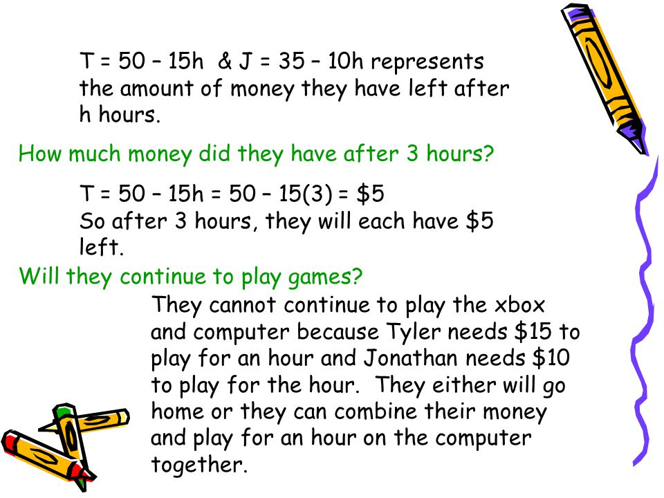 T = 50 – 15h & J = 35 – 10h represents the amount of money they have left after h hours. T = 50 – 15h = 50 – 15(3) = $5 So after 3 hours, they will ea
