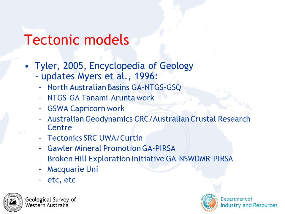 Department of Industry and Resources Geological Survey of Western Australia Tectonic models Tyler, 2005, Encyclopedia of Geology - updates Myers et al., 1996: –North Australian Basins GA-NTGS-GSQ –NTGS-GA Tanami-Arunta work –GSWA Capricorn work –Australian Geodynamics CRC/Australian Crustal Research Centre –Tectonics SRC UWA/Curtin –Gawler Mineral Promotion GA-PIRSA –Broken Hill Exploration Initiative GA-NSWDMR-PIRSA –Macquarie Uni –etc, etc