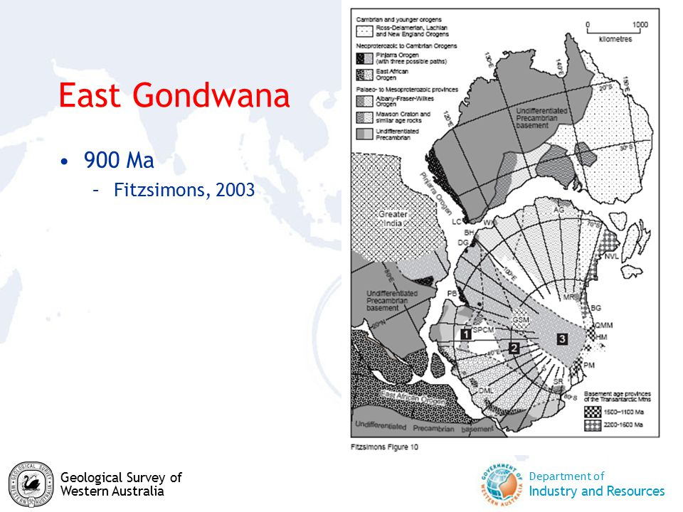 Department of Industry and Resources Geological Survey of Western Australia East Gondwana 900 Ma –Fitzsimons, 2003