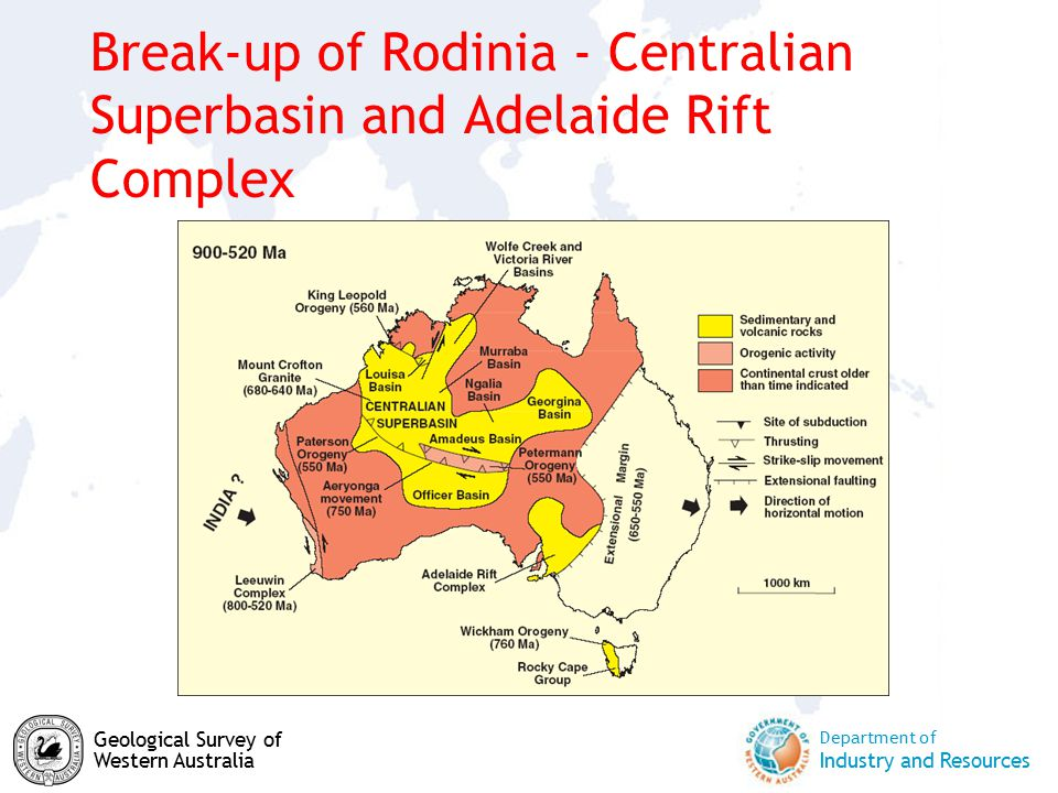 Department of Industry and Resources Geological Survey of Western Australia Break-up of Rodinia - Centralian Superbasin and Adelaide Rift Complex