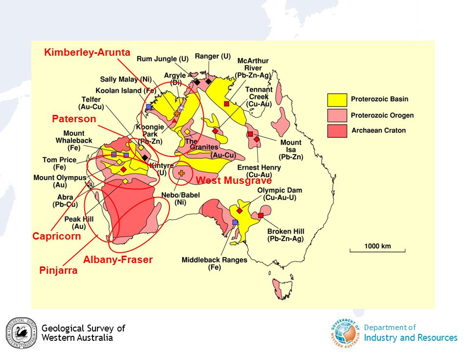 Department of Industry and Resources Geological Survey of Western Australia Kimberley-Arunta Capricorn Paterson Albany-Fraser West Musgrave Pinjarra