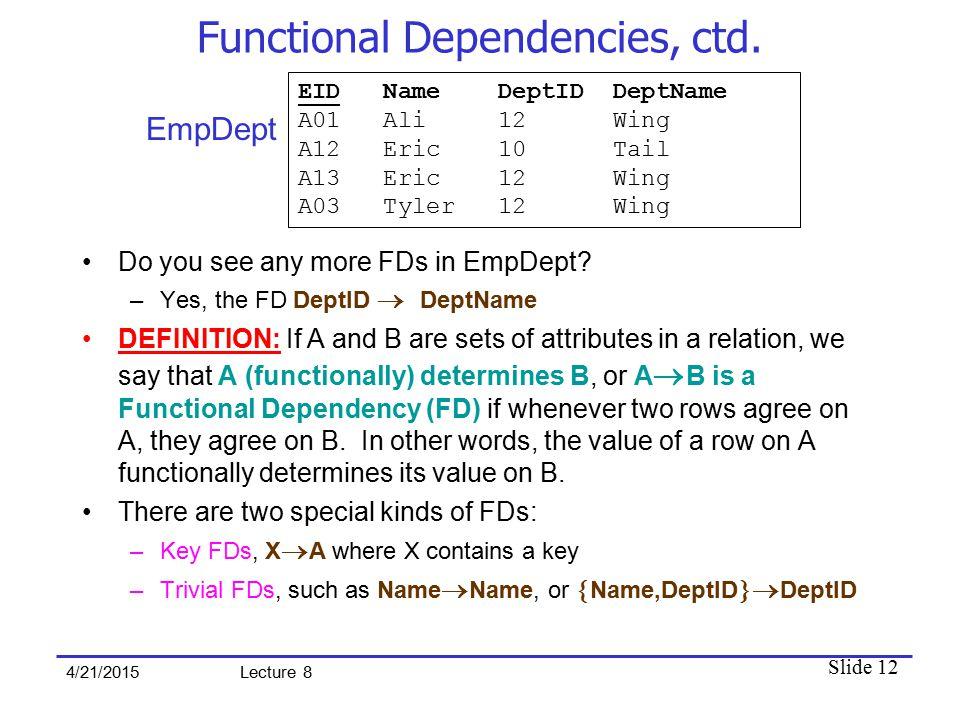 Slide 12 4/21/2015 Lecture 8 Functional Dependencies, ctd.