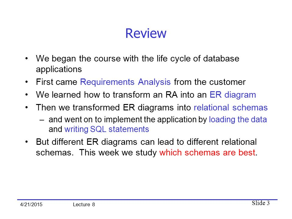 Slide 3 4/21/2015 Lecture 8 Review We began the course with the life cycle of database applications First came Requirements Analysis from the customer We learned how to transform an RA into an ER diagram Then we transformed ER diagrams into relational schemas –and went on to implement the application by loading the data and writing SQL statements But different ER diagrams can lead to different relational schemas.