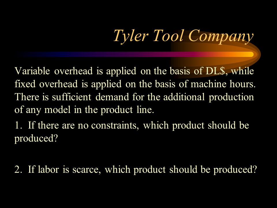 Tyler Tool Company Variable overhead is applied on the basis of DL$, while fixed overhead is applied on the basis of machine hours. There is sufficien