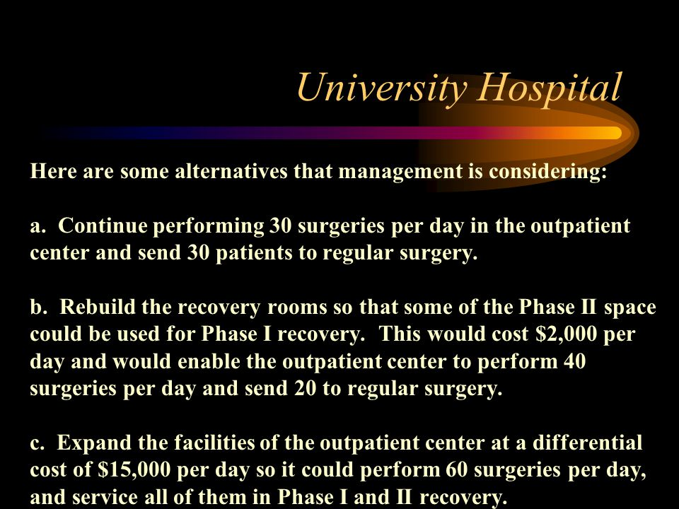 University Hospital Here are some alternatives that management is considering: a. Continue performing 30 surgeries per day in the outpatient center an