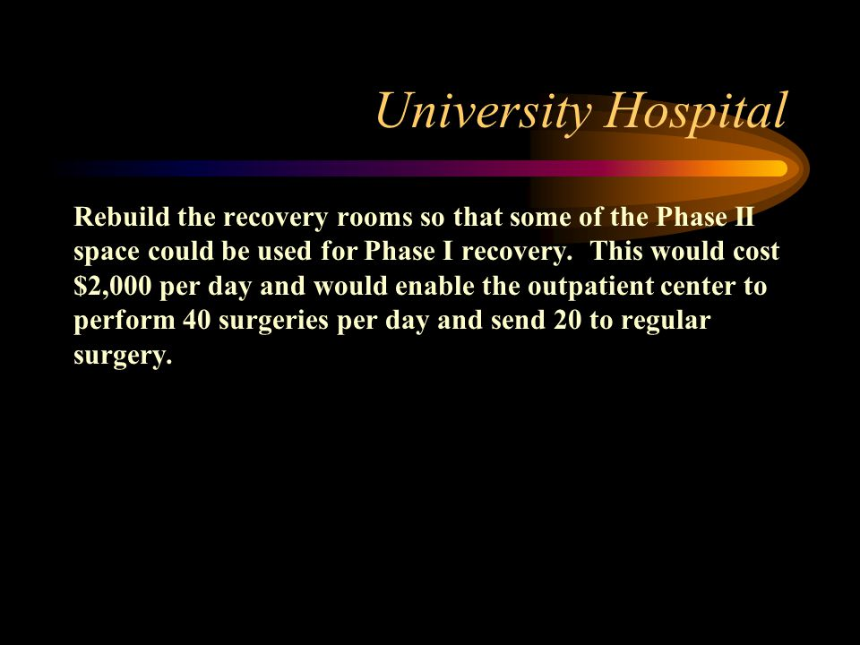 University Hospital Rebuild the recovery rooms so that some of the Phase II space could be used for Phase I recovery. This would cost $2,000 per day a