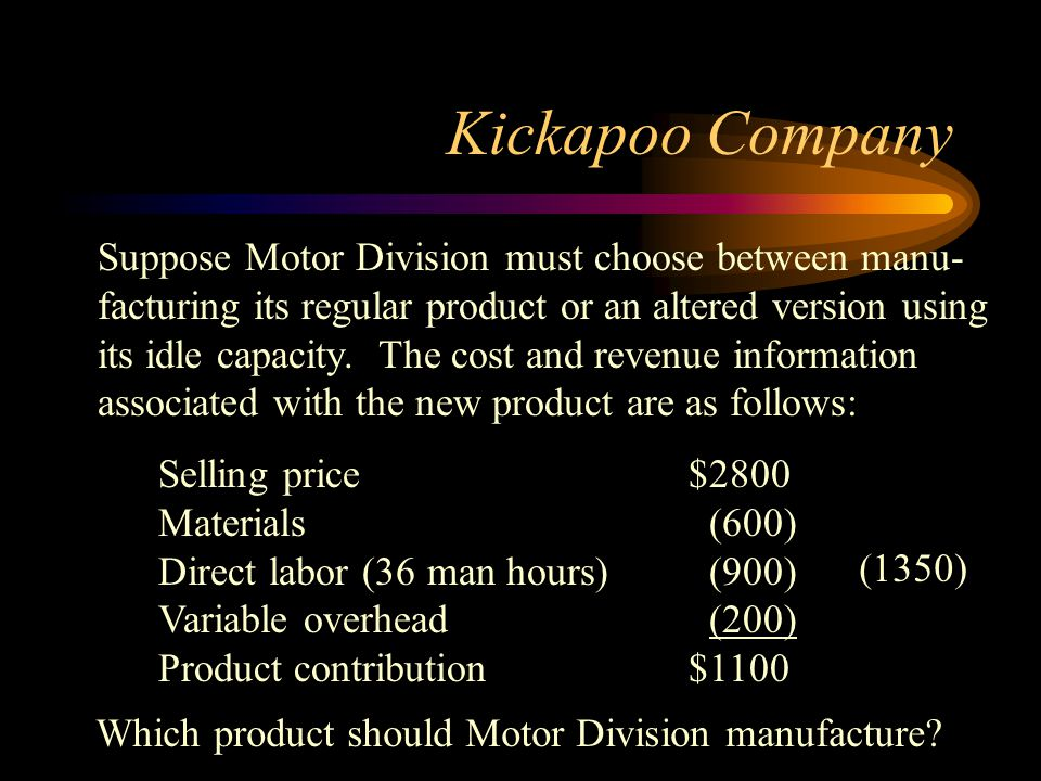 Kickapoo Company Suppose Motor Division must choose between manu- facturing its regular product or an altered version using its idle capacity. The cos