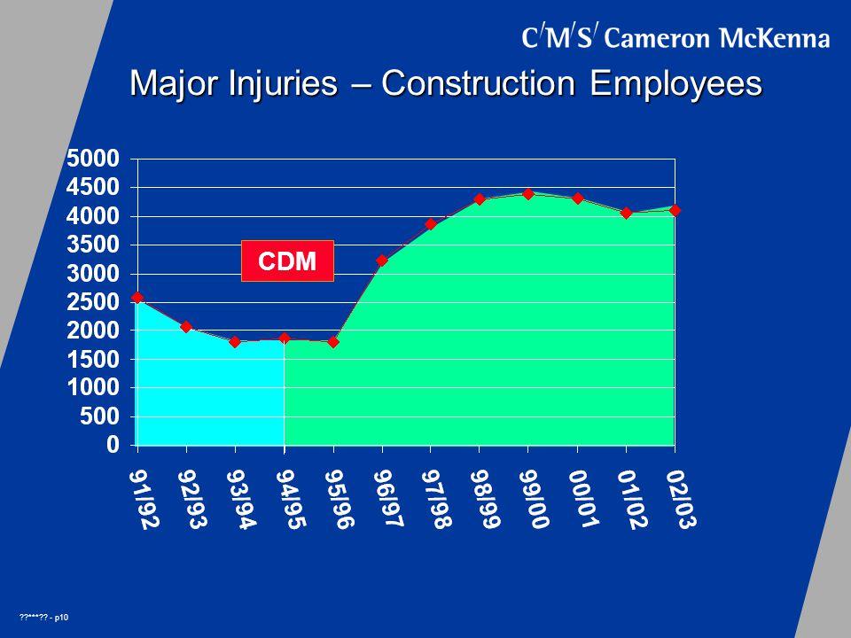 *** - p10 Major Injuries – Construction Employees CDM