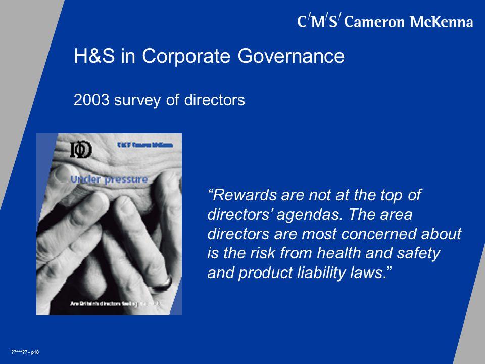 *** . - p18 2003 survey of directors Rewards are not at the top of directors' agendas.