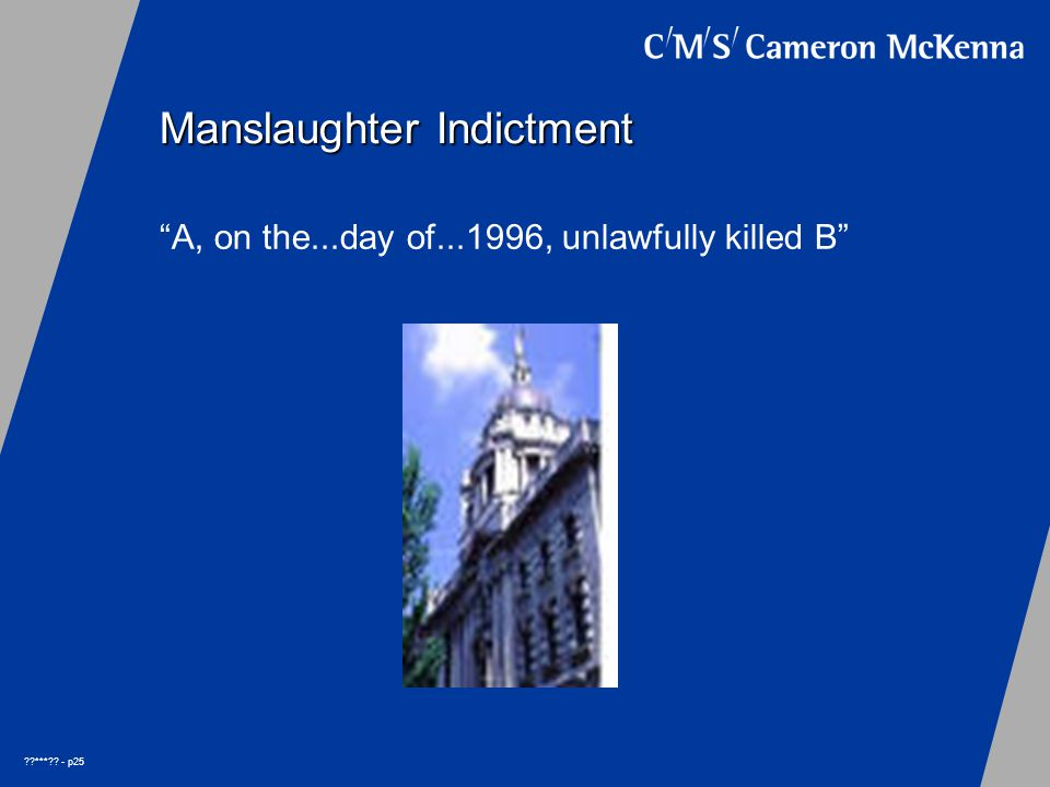 *** - p25 Manslaughter Indictment A, on the...day of...1996, unlawfully killed B