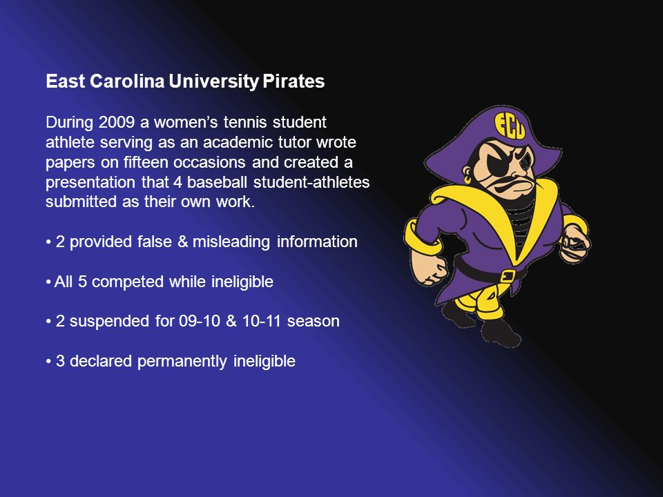East Carolina University Pirates During 2009 a women's tennis student athlete serving as an academic tutor wrote papers on fifteen occasions and creat