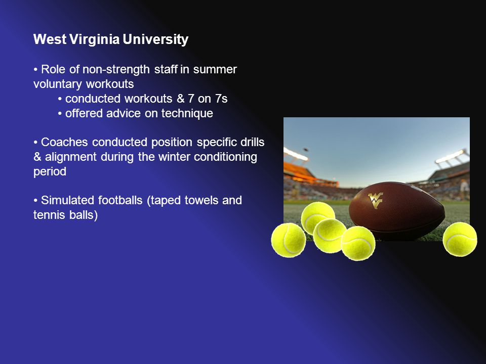 West Virginia University Role of non-strength staff in summer voluntary workouts conducted workouts & 7 on 7s offered advice on technique Coaches cond