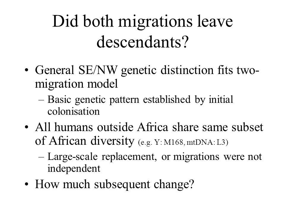 Did both migrations leave descendants? General SE/NW genetic distinction fits two- migration model –Basic genetic pattern established by initial colon