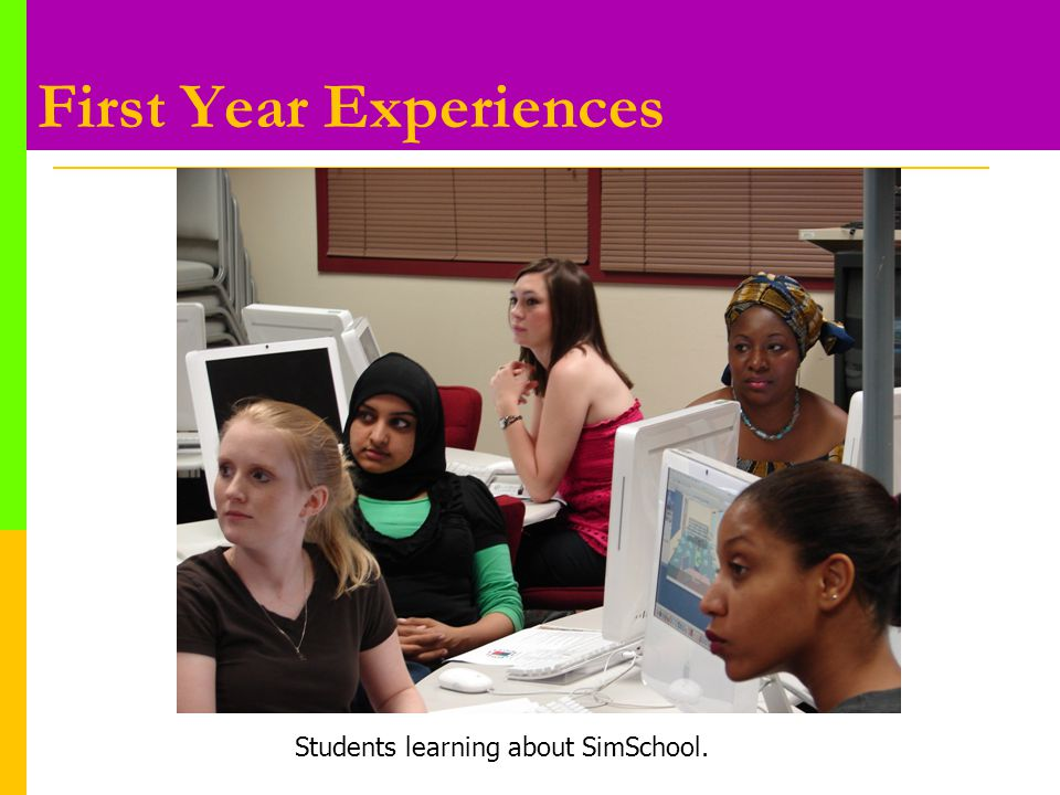 First Year Experiences Students learning about SimSchool.