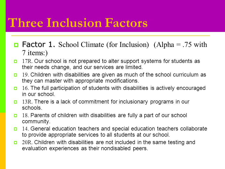  Factor 1.  Factor 1. School Climate (for Inclusion) (Alpha =.75 with 7 items:)  17R.