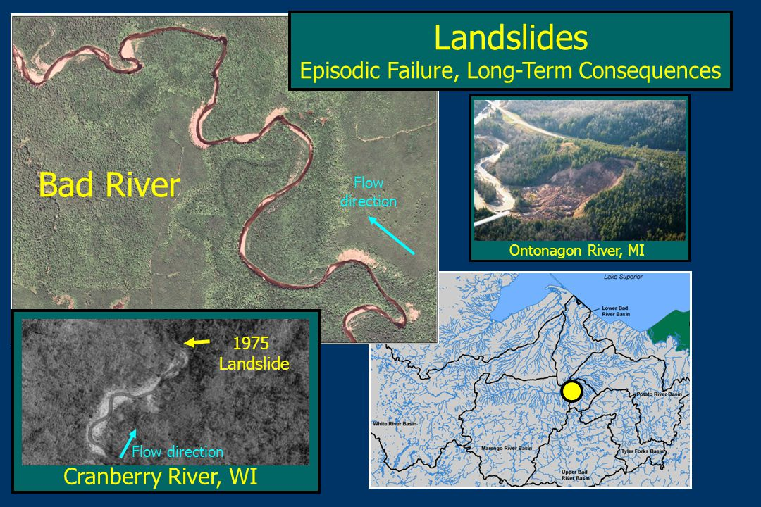 Cranberry River, WI Landslides Episodic Failure, Long-Term Consequences Bad River Ontonagon River, MI 1975 Landslide Flow direction Flow direction
