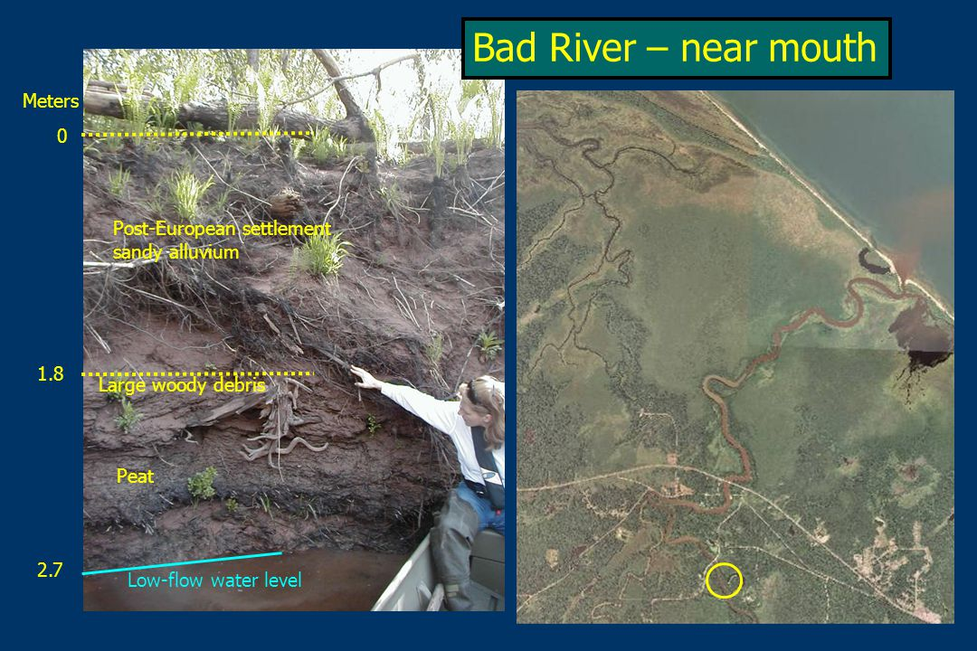 Low-flow water level Peat Large woody debris Post-European settlement sandy alluvium 0 Meters 1.8 2.7 Bad River – near mouth
