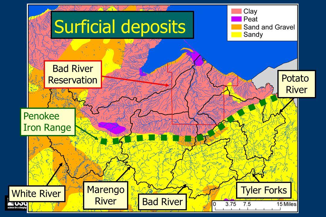 White River Marengo River Bad River Tyler Forks Potato River Bad River Reservation Penokee Iron Range Surficial deposits
