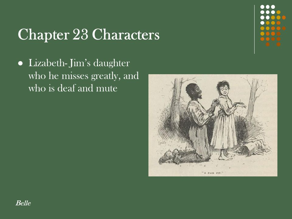 Chapter 23 Characters Lizabeth- Jim's daughter who he misses greatly, and who is deaf and mute Belle