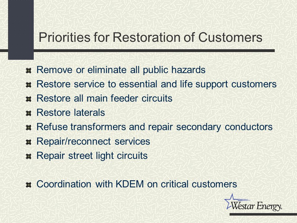 Priorities for Restoration of Customers Remove or eliminate all public hazards Restore service to essential and life support customers Restore all main feeder circuits Restore laterals Refuse transformers and repair secondary conductors Repair/reconnect services Repair street light circuits Coordination with KDEM on critical customers