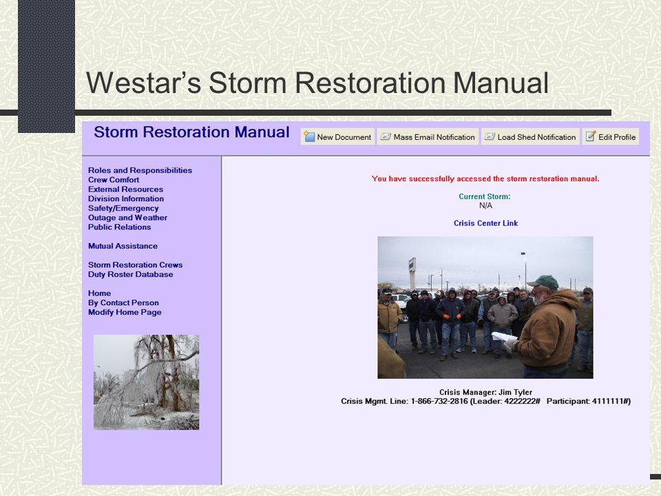 Westar's Storm Restoration Manual