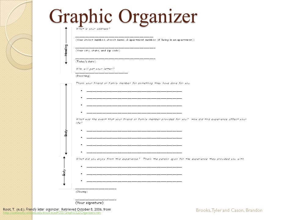 Graphic Organizer Brooks, Tyler and Cason, Brandon Root, T.