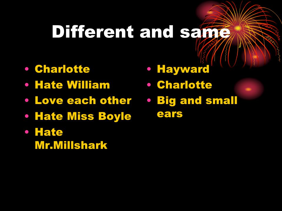Different and same Charlotte Hate William Love each other Hate Miss Boyle Hate Mr.Millshark Hayward Charlotte Big and small ears