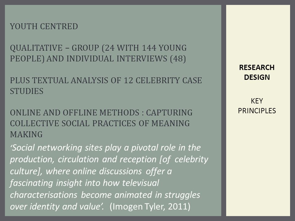 RESEARCH DESIGN KEY PRINCIPLES YOUTH CENTRED QUALITATIVE – GROUP (24 WITH 144 YOUNG PEOPLE) AND INDIVIDUAL INTERVIEWS (48) PLUS TEXTUAL ANALYSIS OF 12