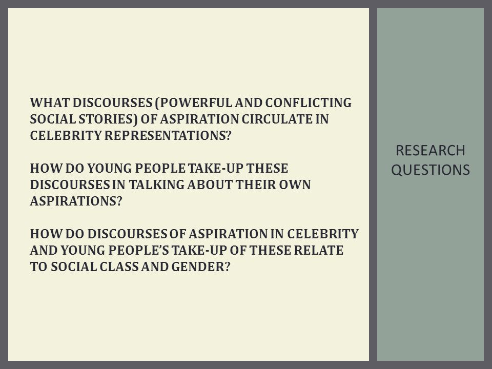 RESEARCH QUESTIONS WHAT DISCOURSES (POWERFUL AND CONFLICTING SOCIAL STORIES) OF ASPIRATION CIRCULATE IN CELEBRITY REPRESENTATIONS.