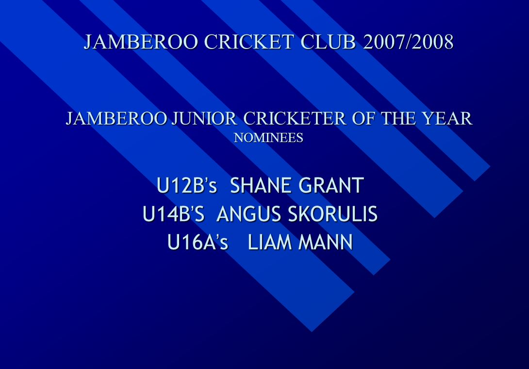 JAMBEROO CRICKET CLUB 2007/2008 JAMBEROO JUNIOR CRICKETER OF THE YEAR NOMINEES U12B ' s U12B ' s SHANE GRANT U14B ' S U14B ' S ANGUS SKORULIS U16A ' s U16A ' s LIAM MANN