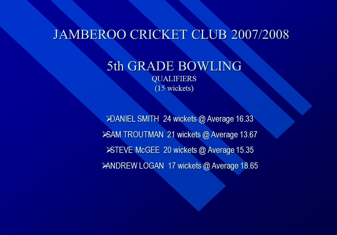 JAMBEROO CRICKET CLUB 2007/2008 5th GRADE BOWLING QUALIFIERS (15 wickets)  DANIEL  DANIEL SMITH 24 wickets @ Average 16.33  SAM  SAM TROUTMAN 21 wickets @ Average 13.67  STEVE  STEVE McGEE 20 wickets @ Average 15.35  ANDREW  ANDREW LOGAN 17 wickets @ Average 18.65